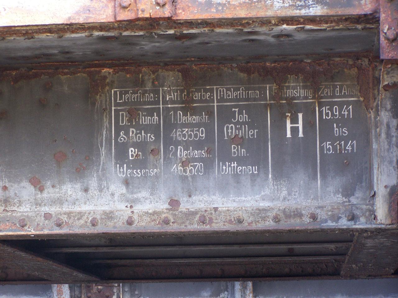 Brücke Nr. 11: letzter Anstrich1941