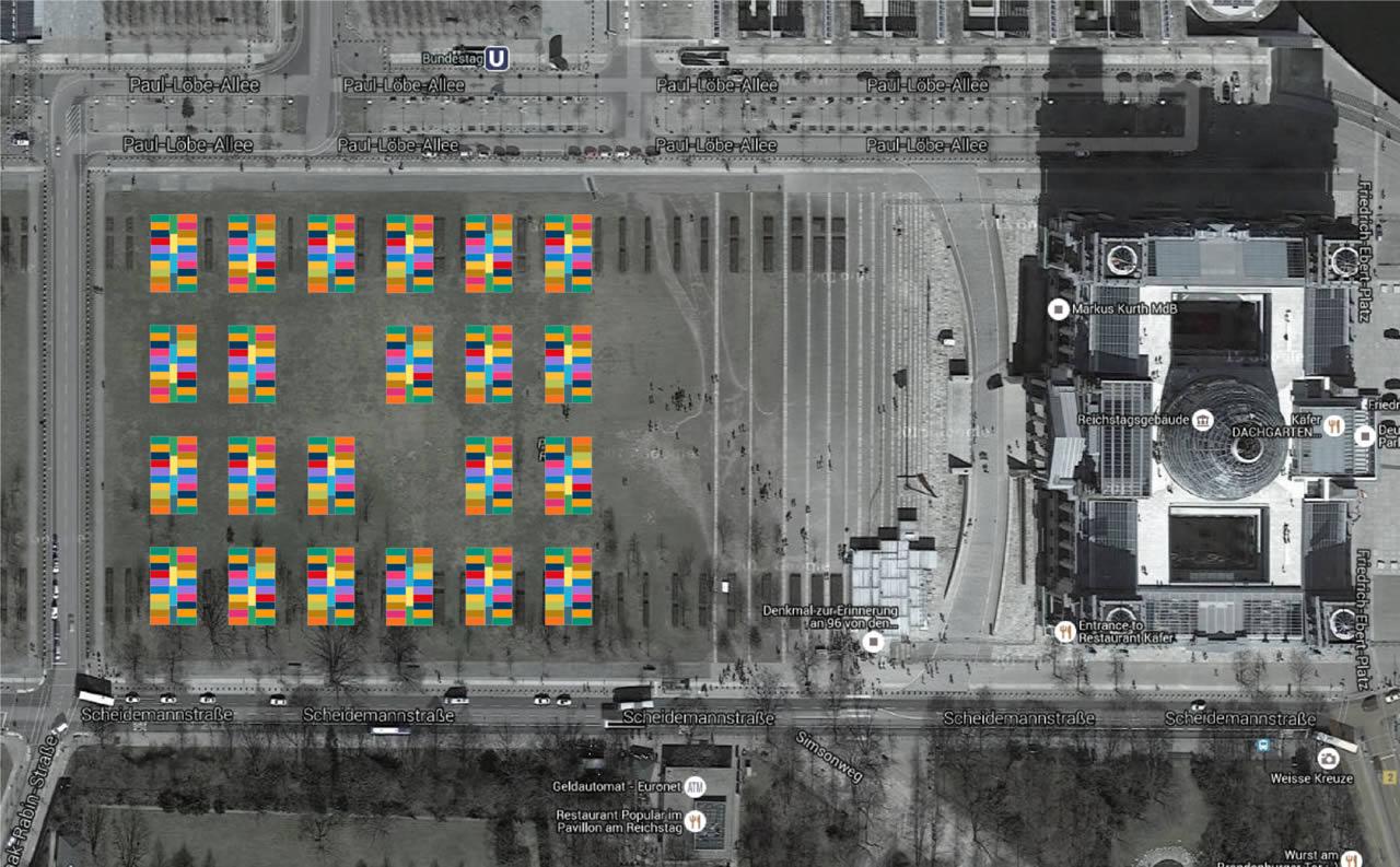 Platz der Republik – die Reichstagswiese. Auf ca. 1,65 ha ist Platz für 22 Blöcke. Jeder Block ist 60,55 m lang und 24,5 m breit und besteht aus 20 Containern, die um einen Mittelflur angeordnet sind. Ca. ein Drittel der Container wird für Sanitär und Gemeinschaftsräume genutzt. Bleiben 13 bis 14 Container zum Wohnen. Die Maße eines einzelnen Containers betragen 6,05 x 2,435 m, also rund 14 m² Fläche. Nebeneinander liegende Container können zu größeren Räumen zusammengeschlossen werden. Je nach Belegungsdichte könnten in einen Block bis zu 50 Personen wohnen. Bei einer Belegungsdichte von 3 bis 4 Personen pro Container könnten bei eingeschossiger Bauweise hier ca. 1000 Personen wohnen, bei einer Belegungsdichte von 2 bis 3 Personen pro Container wären es ca. 730, bei einer Belegungsdichte von 1 bis 2 Personen pro Container wären es ca. 440.