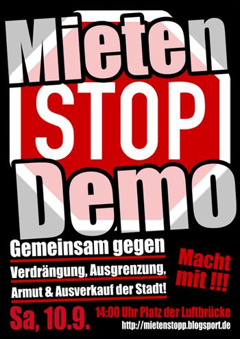 Mieten-STOP-Demo am 10. 09. 16 Platz der Luftbrücke