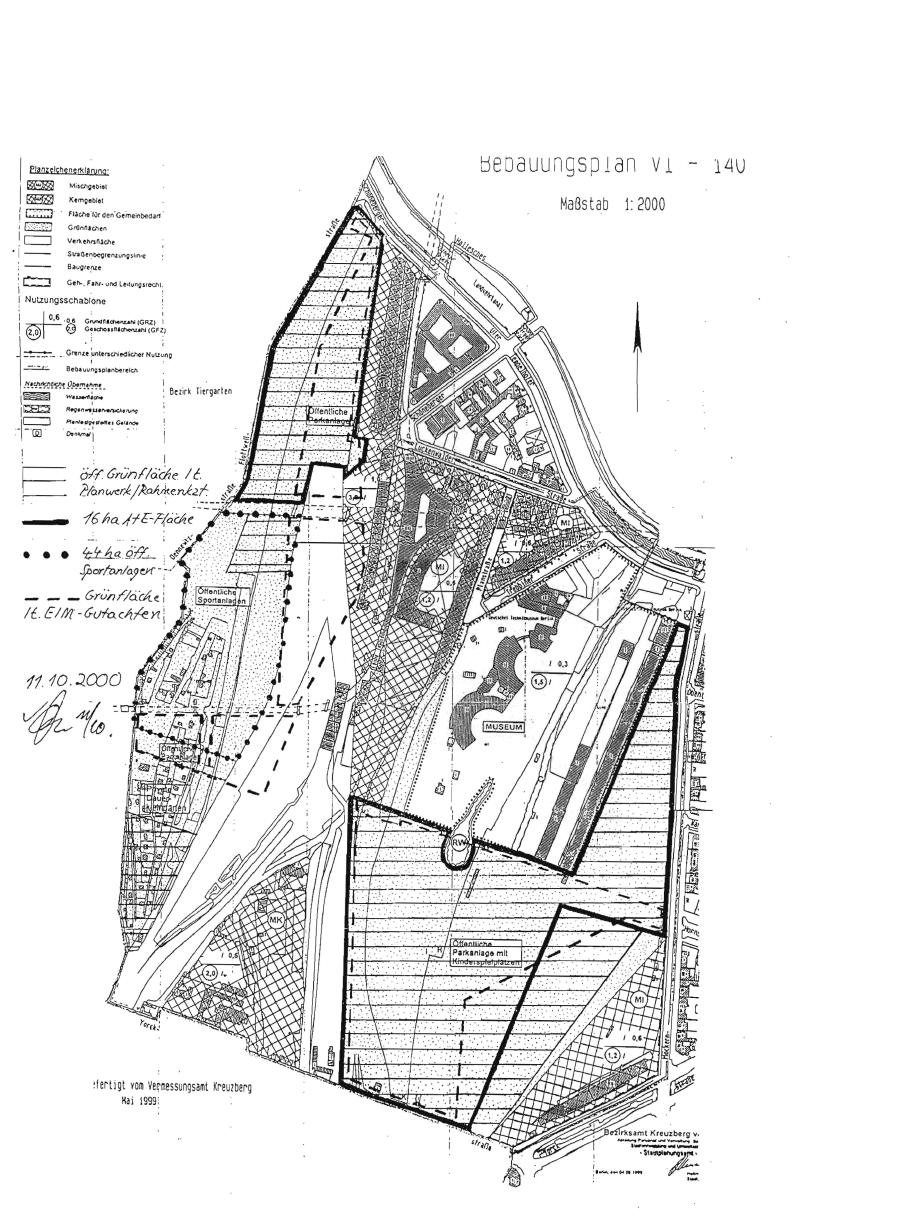 Bebauungsplan Gleisdreieck IIV-140, Stand 1999 mit handschriftlichen Ergänzungen von 2001