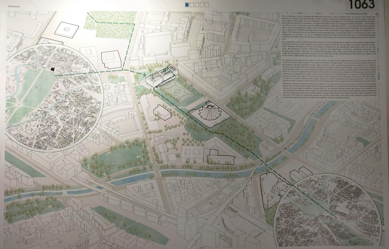 Zeichnung von Kéré Architecture mit dem Weg vom Flaschenhals über den Ostpark des Gleisdreiecks bis auf das Dach des Exilmuseumns am Anhalterpersonenbahnhof.