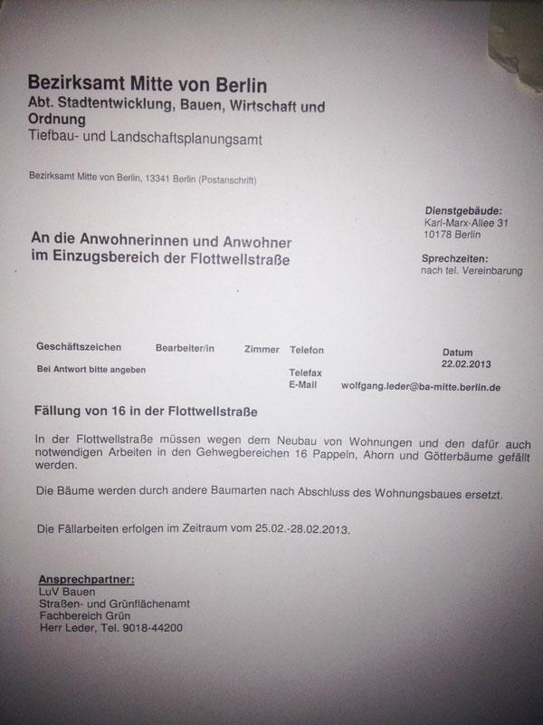 Schreiben des Bezirksamt Mitte zu den Baumfällungen in der Flottwellstraße an 25. 02. 13