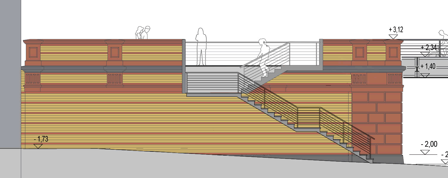 Alternative 1: der Bau von außen vor die Bahnmauer gestellten Treppen, konkurrenzlos kostengünstig und in jeder Hinsicht transparent - aber allein nicht barrierefrei.