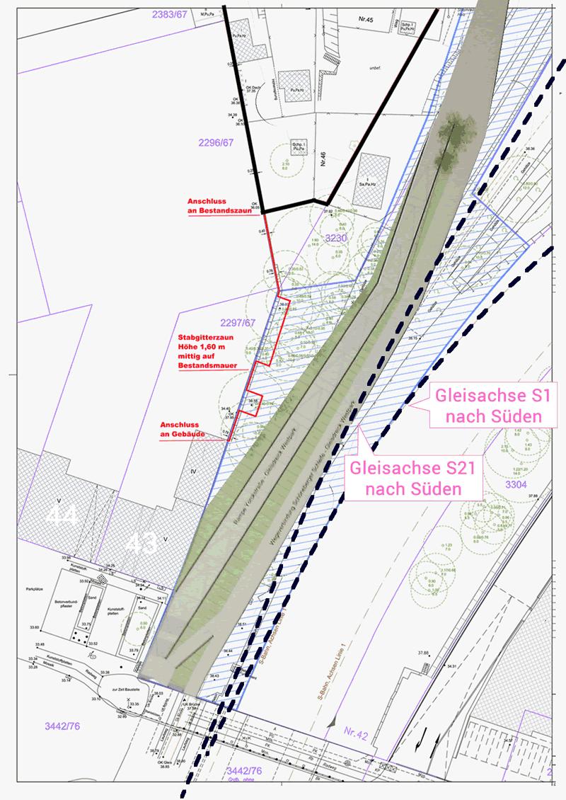 Die Überlagerung der Bahnplanungen, des Vermesserplans der Grün Berlin GmbH und der Planung des Bezirksamtes Tempelhof-Schöneberg zeigt, dass die Rampe nicht kompatibel ist mit der Bahnplanung. Klicke aufs Bild, um eine größere Ansicht zu erhalten.