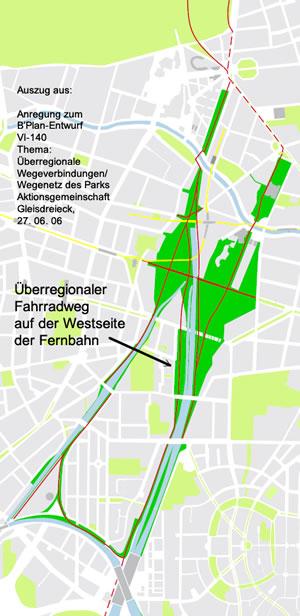 Auszug aus der Stellungnahme der AG Gleisdreieck zum B'plan Gleisdreieck zeigt die alternative Trssenführung für den Fahrradweg