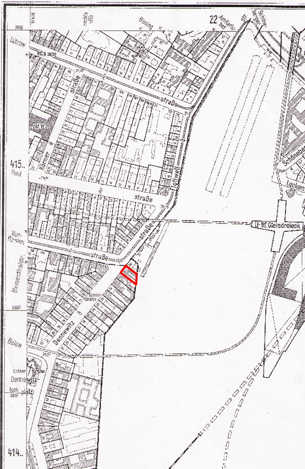 Karte aus den 1950er Jahren, die heute verschwundene Hausnummer Dennwitzstraße 35 am Rande des Gleisdreiecks