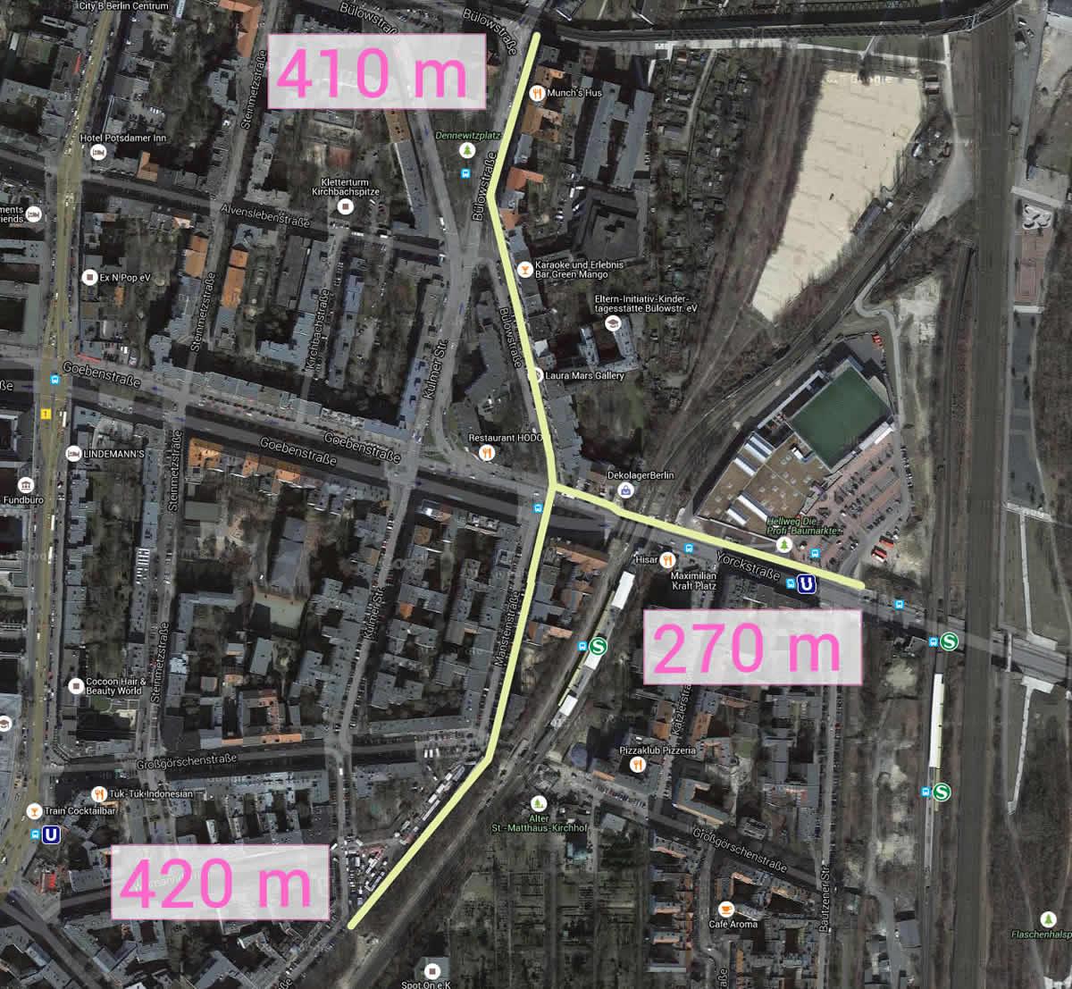 Entfernungen von der Kreuzung Yorck/Manstein (nördliche Straßenseite) zu den barrierefreien Eingänegen Bülowbogen und Hellweg in den Westpark des Gleisdreiecks sowie zum Eingang in den Wannseebahngraben am Crellemarkt.