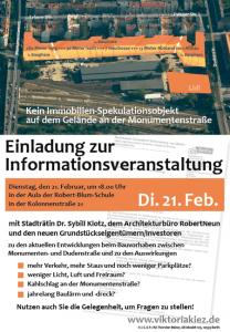Einladungsplakat der BI Eylauer Straße/Viktoriakiez