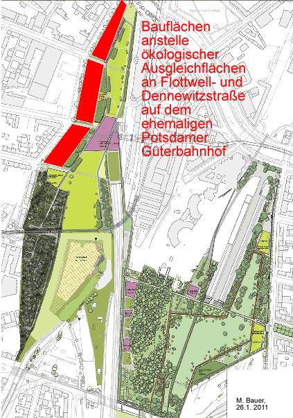 Der Gleisdreieck-Park mit den roten Bauflächen an der Dennewitz- und Flottwellstraße an seinem westliche Rand