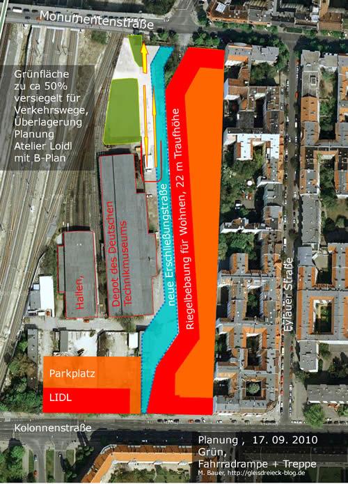 Die Überlagerung der Planungen des Atelier Loidl für den überregionalen Fahrradweg zeigen, dass gut die Hälfte der neuen Grünfläche Verkehsrzwecken dient und deswegen versiegelt sein wird.