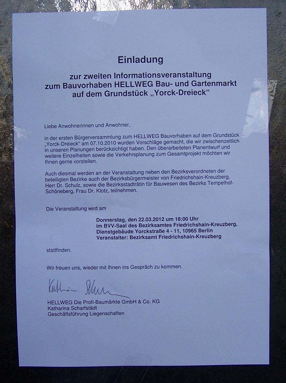 Einladung der Firma Hellweg zur Veranstaltung am 22.03.2012, die am 8. 3. 12 an die Haustüren in der Umgebung geklebt wurde.  Aufs Bild klicken, um eine lesbar Darstellung zu bekommen.