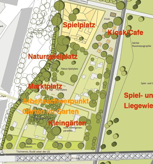 Kleingärten, Birkenwädlchen Marktplatz, Natur und konventioneller Spielplatz, Kiosk