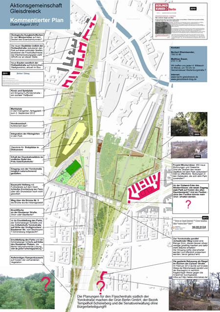 Kommentierter Plan Gleisdreieck, Stand August 2012
