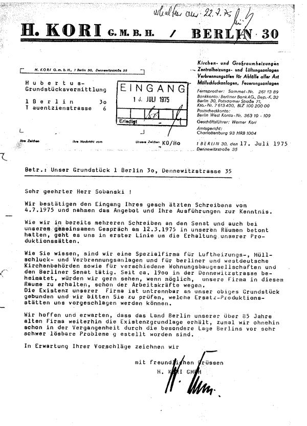 Brief der KORI GmbH von 1975