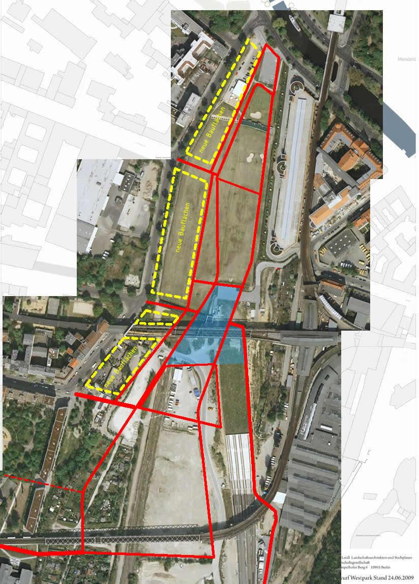 Planung des Atelier Loidl, auf das Luftbild projeziert