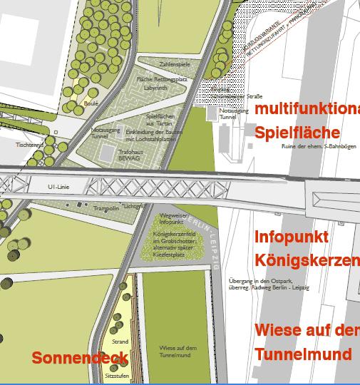 Multifunktionaler Platz mit Spielflächen aus Tartan, Königskerzenfeld, Sonnendeck am Tunnelmund