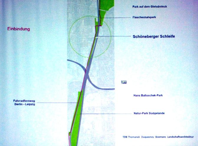 Auschnitt aus Schöneberger Schleife. Deutlich ist der Versprung des Weges an der Monumentenbrücke zu sehen