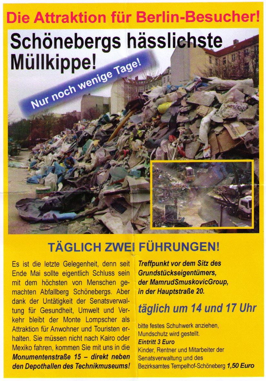 Flyer zur Schöneberger Müllkippe am 23. 06. 2011