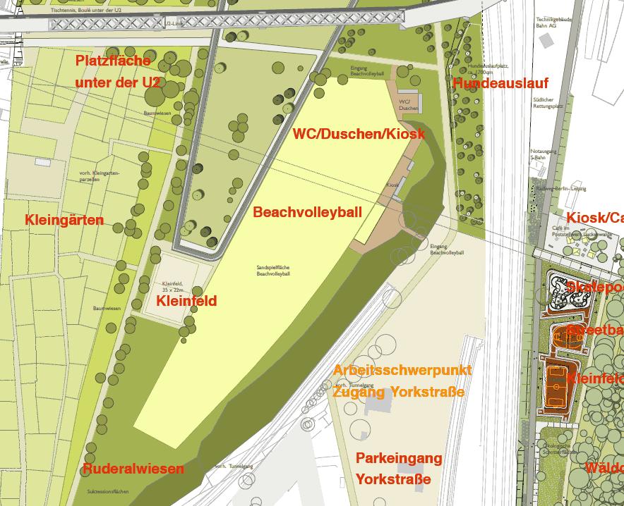 Südlich der U2: Gärten, Wiese, Bolzplatz, Ruderalwiese, Beachvolleyball und Hundespielplatz