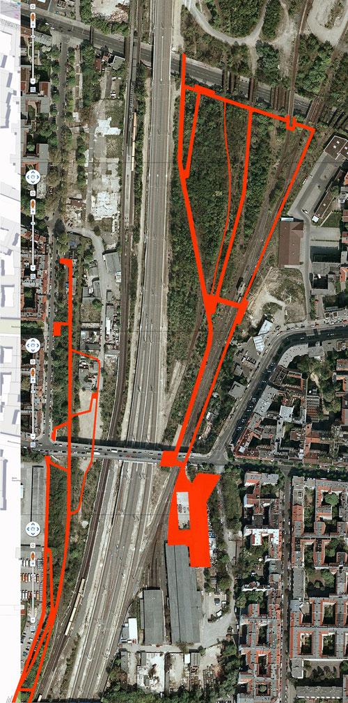 Überlagerung der Planungen von Loidl und TDB mit dem Luftbild