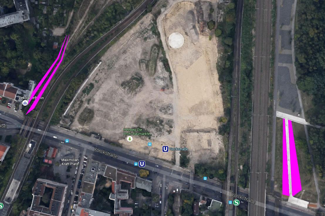 Die Böschung der vorhandenen Rampe in den Ostpark und der geplanten Rampe in den Westpark ist Magenta eingefärbt. Klicke aufs Bild, um eine größere Ansicht zu erhalten.