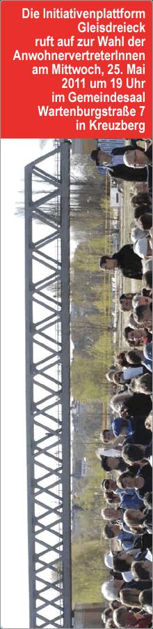 Neuwahlen der Anwohnervertreterinnen Gleisdreieck am 25. Mai 2011