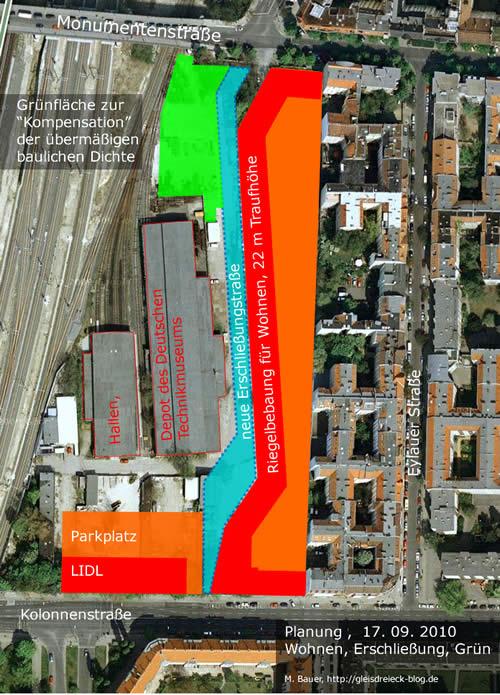 Der große Riegel (rot) auf der Betonplatte (orange) mit neuer Erschließungstraße (blau) und der angelblich Kompensation (grün).